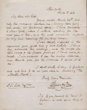 Lettera di Edgar Allan Poe del 3 giugno 1844