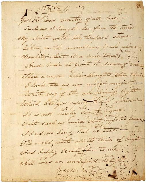 Frammento autografo di Edgar Allan Poe